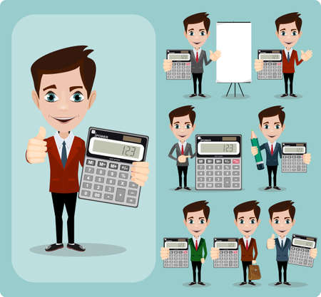 Happy Businessman Holding Calculator. Portrait Of Happy Accountant . Stock Vector illustration Set