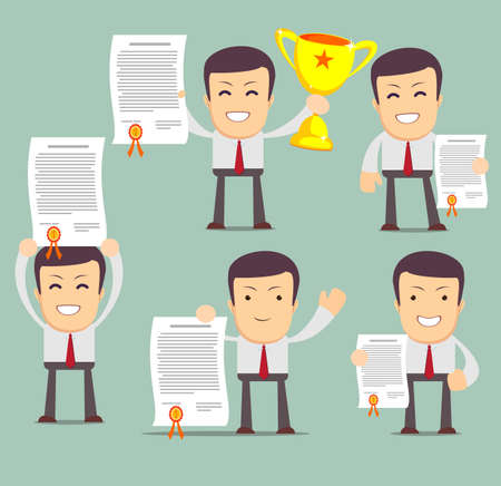 Vector illustration of businessman proudly standing holding up winning trophy and showing an award certificate. Flat style. Stock Vector illustration Set