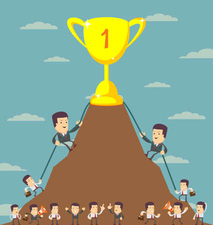 corporate team: Business Men in Career Race. Vector illustration of a group of Business Men running in the race that could just define their careers.. Stock Vector illustration