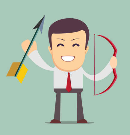 Determined handsome businessman with bow and arrow, isolated on background. Stock Vector illustration Vettoriali
