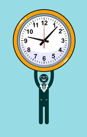 hinder: Abstract Businessman holding Time. Vector illustration of Retro styled Businessman desperately trying to hold back time so he can make an important deadline. Illustration