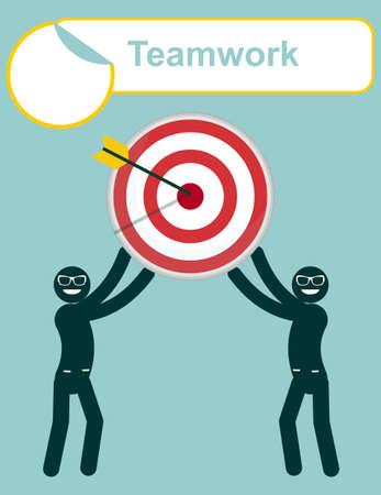 focus on the goal: Teamwork and Leadership. Focus your goal . Stock Vector illustration