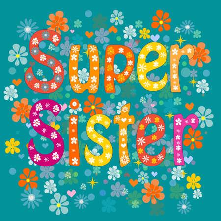 cartoon words: best sister ever-birthday day. Stock Vector illustration. Illustration