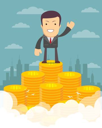 Vector illustration of businessman proudly standing on the huge money staircase. Flat style business concept