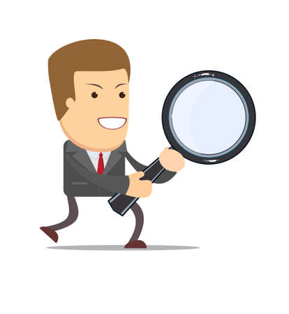 to tie: Vector illustration of a cartoon businessman walking with a magnifying glass in his hands Illustration