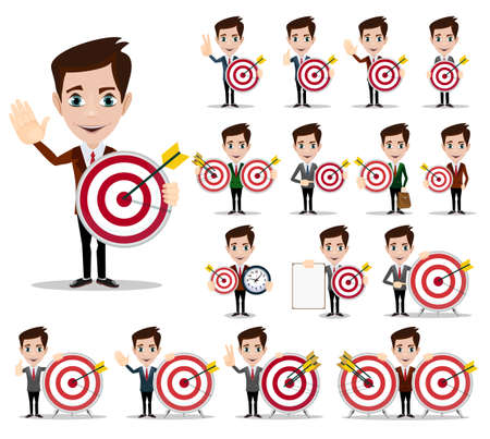 target thinking: Business man thinking about target -vector red dart showing success. Stock Vector illustration.