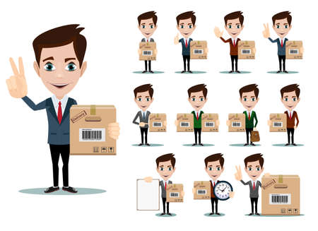 success man: Delivery men with box. Stock Vector illustration.