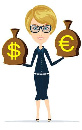 sacks: Woman with sacks of money on white. Stock Vector illustration.