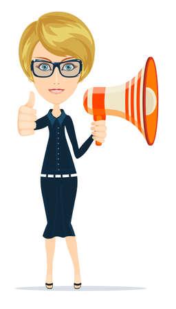 megafono: de negocios con el megáfono de negocios, la comunicación y el concepto de la oficina sonriendo. Vectores