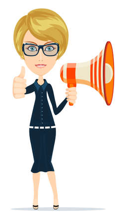 megafono: Smiling businesswoman with megaphone-business, communication and office concept. Vectores