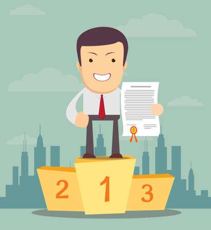 winner man: winner man on a pedestal. Businessman won. Vector flat illustration