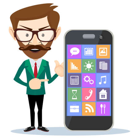 displeased: Businessman showing you something on his smartphone.
