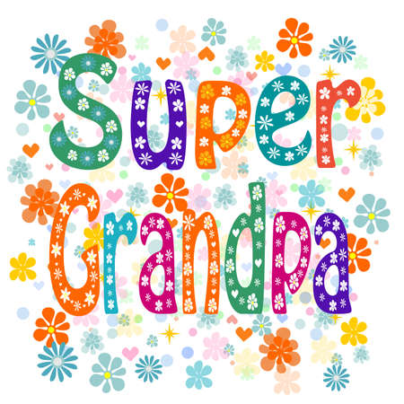 Super grandpa. Cartoon old man in a mask and a superhero cape, with a hammer, no transparencies, EPS