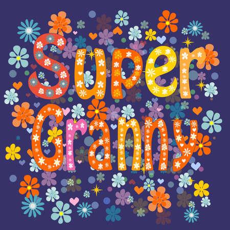 vejez feliz: S�per animados abuela anciana en un delantal y una capa de superh�roe Vectores