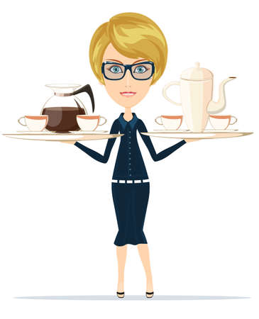 ordered: Beautiful Girl Waitress Carries a Tray Ordered Drinks, Coffee, Tea. Vector Illustration.