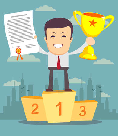 winning first: Happy businessman with gold cup and certificate standing on pedestal.Success business concept. Trendy flat design. background with hand drawn marketing,seo, business icons set.Vector illustration