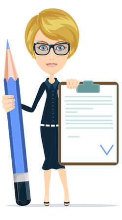 validated: Businesswoman or Teacher Holding a Document in Which All Approved, Validated, Agreed and big green pencil. The Document Put the Green Check Mark, Flags. Vector Illustration Illustration