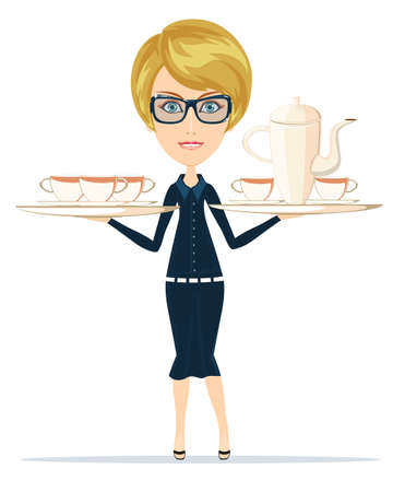 carries: Waitress serving coffee. Beautiful Girl Waitress Carries a Tray Ordered Drinks, Coffee, Tea. Vector Illustration.