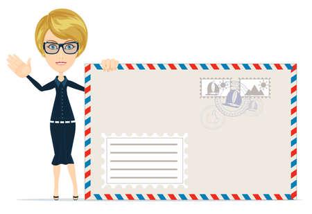 mailmen: Portrait of beautiful women in blue dress with envelopes on grey background. Illustration
