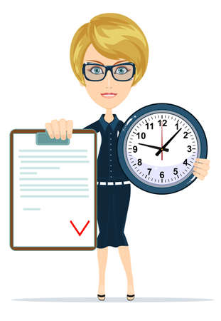 workday: attractive bookkeeper with folder and clock over white. Women in Business Illustration