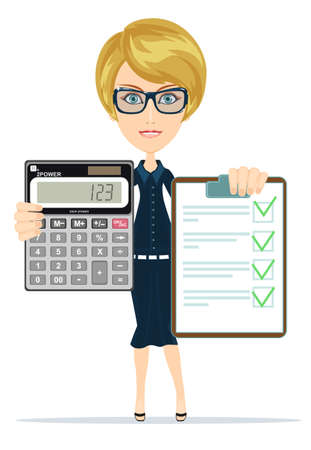 Portrait Of Young Businesswoman Doing Calculations In The Office. attractive bookkeeper with folder and clock over white. Women in Business Illustration