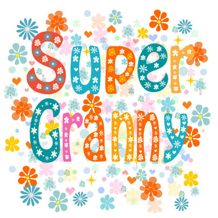 old family: Super granny, cartoon old lady in an apron and a superhero cape, no transparencies. Vector