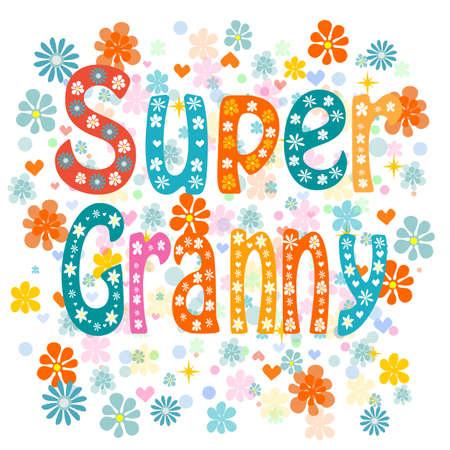 Nonna super, cartone animato vecchia signora in un grembiule e un mantello supereroe, non lucidi. Vettore