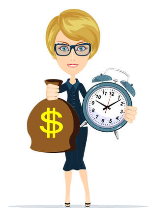 woman holding money: Portrait of young business woman is holding in hands clock and money, isolated on white background, discipline and punctual concept. Women in Business Illustration