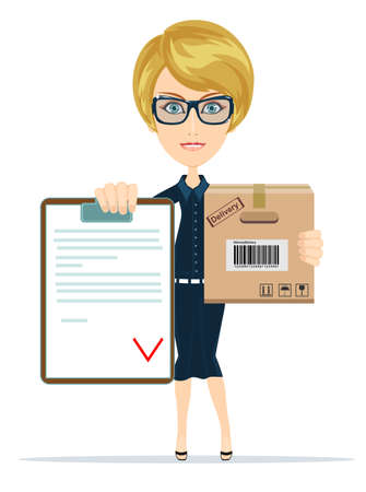 portrait young girl studio: pretty delivery woman with parcel and receiving paper for signing. Women in Business Illustration