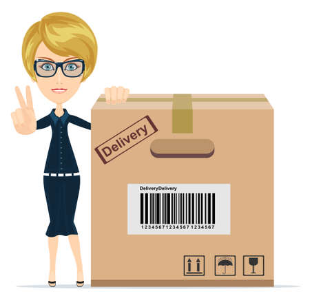 big boxes: picture of attractive businesswoman with big boxes..