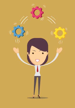 Vector illustration of a cartoon businessman- Women juggling with cog wheels, symbolizing strategic thinking, creativity. Vectores
