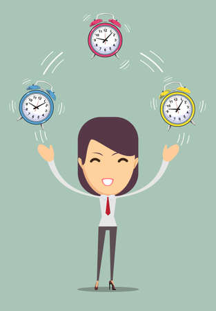 office slave: Office worker planning time juggler business woman. Vector illustration of a cartoon businessman