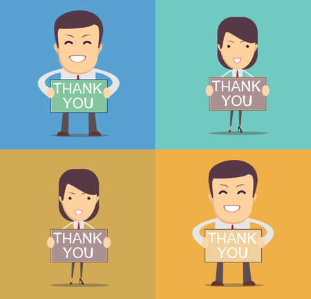thank you sign: Businessman holding thank you sign. Vector illustration of a cartoon businessman Illustration