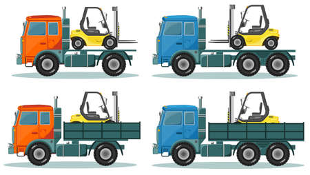 inter: Vector illustration in a flat style icons cargo transportation goods by road trucks, loading and unloading of goods lift trucks, varieties forklifts