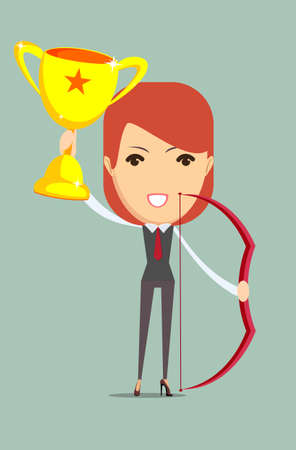 recompense: Vector illustration of business woman proudly standing , holding up winning trophy and bow. Flat style