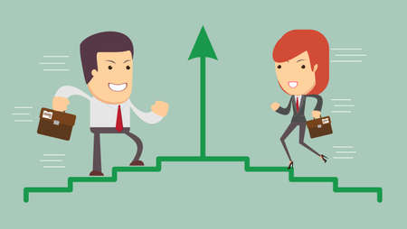 woman stairs: Vector illustration of an ambitious cartoon business woman and man running on growing bar chart labeled success.