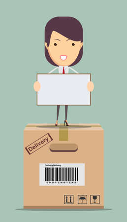 costumer: Portrait of Female delivery service happily delivering package to costumer Illustration