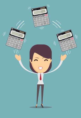 Accountant holding calculator, Cartoon stock vector illustration. Иллюстрация