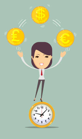 analogy: Flat time is money concept background. Money saving. Time management Illustration