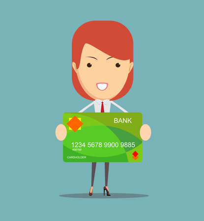 credit card business woman: a young business woman holding new credit card.Vector illustration