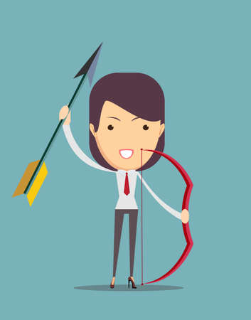 fantastical: Ancient female archer with bow and arrow. Vector illustration