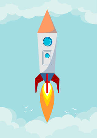 cartoon window: Space rocket flying in space with moon and stars on background print vector illustration Illustration