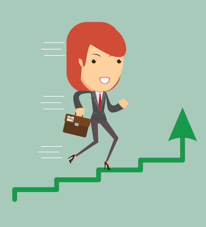 labeled: Vector illustration of an ambitious cartoon business woman running on growing bar chart labeled success. Illustration