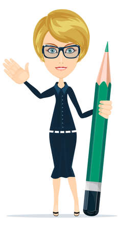 teacher students: Business woman with a green pencil, sends you his greetings hand, vector illustratio