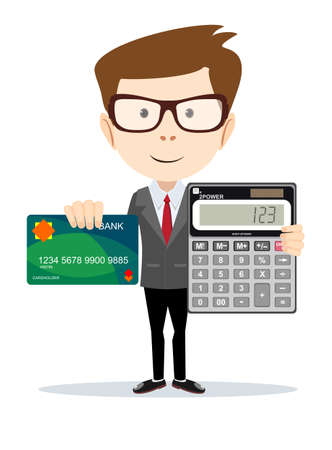 Accountant or businessman with a calculator and a bank card, vector illustration Illustration
