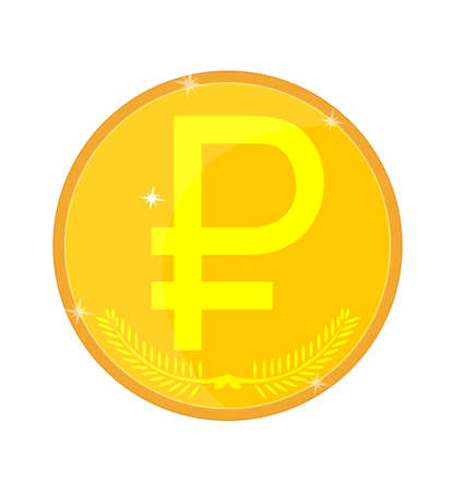 home value: Gold coin with the symbol of the Russian ruble, vector illustration