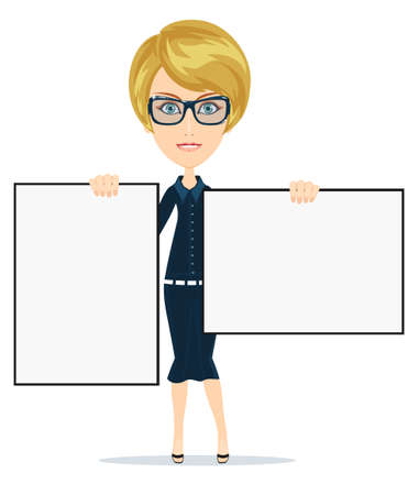 billboard: Business woman holding a banner - isolated over a white background Stock Vector illustration