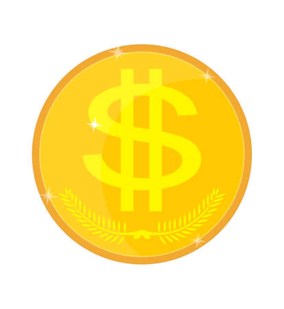 white interest rate: Gold coin isolated with a dollar sign, vector illustration Illustration