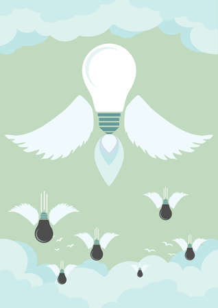 rises: Bright idea rises above fail, bad ideas are falling down, vector illustration. Business concept.