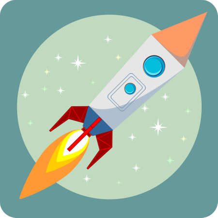 booster: Space rocket flying in space with moon and stars on background print vector illustration Illustration